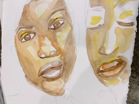 Natoya Ellis, Natoya Ellis art, watercolor,watercolour, watercolour artist, watercolor artist, watercolorist, watercolourist, black artist, transgender, lgbtq, cis gender, art practice, black woman art, painting, painting of the day, canadian artist, sunday best,